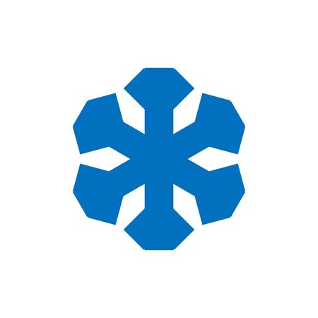 Snowflake sign. Blue Snowflake icon isolated on white background. Snow flake silhouette. Symbol of snow, holiday, cold weather, frost. Winter design element Vector illustration 스톡 콘텐츠 - 129926071
