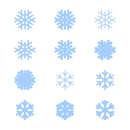 Snowflakes signs set. Blue Snowflake icons isolated on white background. Snow flake silhouettes. Symbol of snow, holiday, cold weather, frost. Winter design element Vector illustration Reklamní fotografie - 129926072