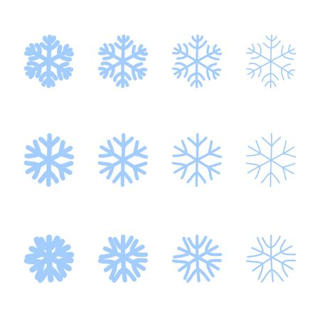 Snowflakes signs set. Blue Snowflake icons isolated on white background. Snow flake silhouettes. Symbol of snow, holiday, cold weather, frost. Winter design element Vector illustration Reklamní fotografie - 129926073
