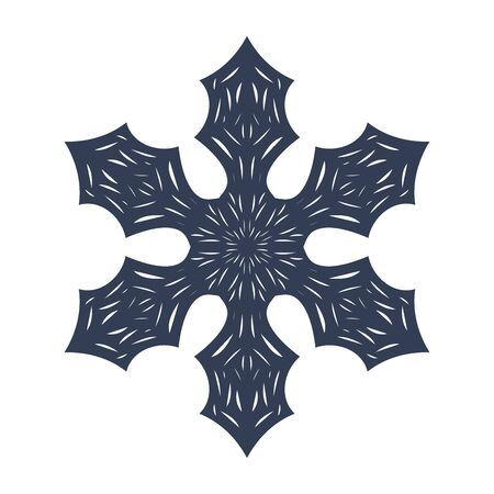 Snowflake sign. Black Snowflake icon isolated on white background. Snow flake silhouette. Symbol of snow, holiday, cold weather, frost. Winter design element Vector illustration Reklamní fotografie - 129926074