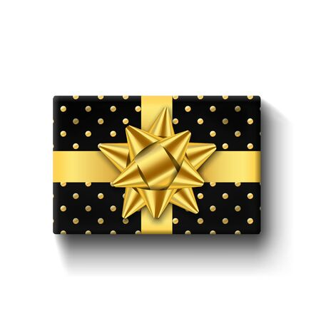 Gift box top view, gold ribbon bow. Isolated white background. Decoration present black gift box for holiday, Valentine celebration, birthday surprise. Package giftbox design Vector illustration 일러스트