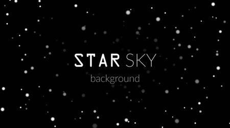 Night sky with white stars on black background. Dark astronomy space template. Galaxy starry pattern for wallpaper. Shiny stars on night sky universe. Cosmos stars wallpaper. Vector illustration Reklamní fotografie - 129926077