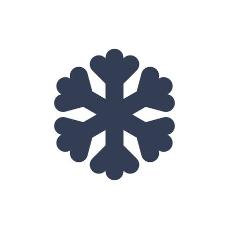 Snowflake icon. Black silhouette snow flake sign, isolated on white background. Flat design. Symbol of winter, frozen, Christmas, New Year holiday. Graphic element decoration. Vector illustration 스톡 콘텐츠 - 129926223