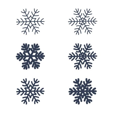 Snowflakes signs set. Black snowflake icons isolated on white background. Snow flake silhouettes. Symbol of snow, holiday, cold weather, frost. Winter design element Vector illustration Reklamní fotografie - 129926224