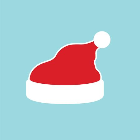 Santa Claus hat flat. Realistic Santa Claus hat isolated blue background. Red funny cap silhouette. Merry Christmas clothes cute simple cartoon design. New year decoration costume Vector illustration