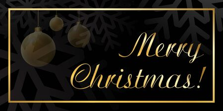 Merry Christmas background with Christmas balls. Black and gold Christmas background in golden frame. Card shiny design for holiday celebration, winter Xmas decorative Vector illustration