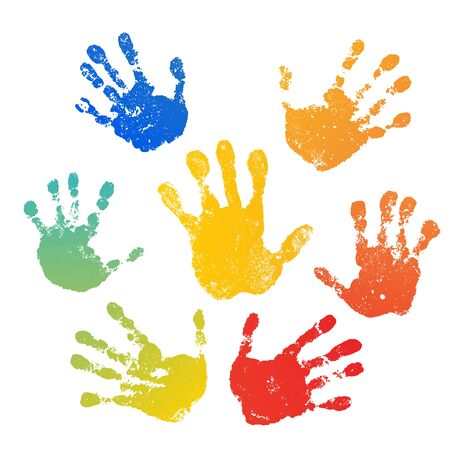 Hand rainbow print isolated on white background. Color child handprint. Creative paint hands prints. Happy childhood design. Artistic kids stamp, bright human fingers and palm Vector illustration 矢量图像
