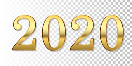Happy New Year 2020. Gold 3D number isolated white transparent background. Bright golden design greeting card, Christmas banner, holiday celebration, decoration poster, calendar Vector illustration