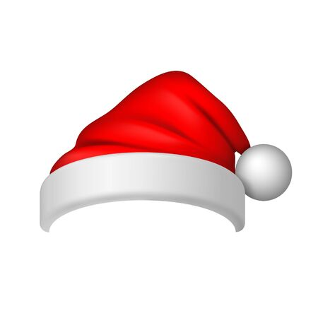 Santa Claus hat 3D. Realistic Santa Claus hat isolated on white background. Red funny cap silhouette. Merry Christmas clothes cute design. New year decoration wear costume Vector illustration