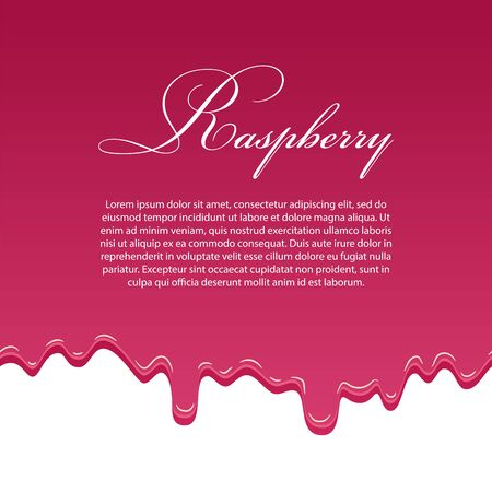 Raspberry jam 3D seamless pattern template, lorem ipsum text. Flowing melting fruit sauce isolated white background. Realistic drop jelly berry confiture. Dripping dessert texture Vector illustration