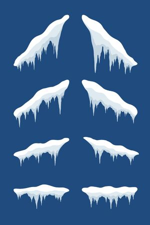 Snow cap ice set. Winter design snowy icicle roof. White snow template. Frame decoration isolated blue background. 3D realistic cap. Christmas, New Year frozen texture Vector illustration