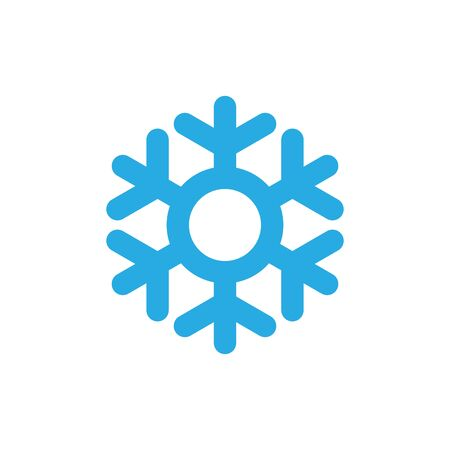 Snowflake icon. Blue silhouette snow flake sign, isolated on white background. Flat design. Symbol of winter, frozen, Christmas, New Year holiday. Graphic element decoration Vector illustration 스톡 콘텐츠 - 129926276