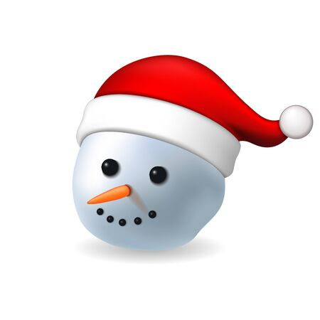 Snowman face 3D. Realistic snowman isolated white background. Cartoon head graphic design. Comic expression Santa Claus costume. Funny face, carrot, coals eyes. Simple face Vector illustration