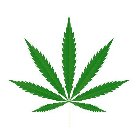 Cannabis blad pictogram. Groene silhouet indica sativa geïsoleerde witte achtergrond. Kruidengeneeskunde kruid plant. Natuurlijke wiet hennep. Verslaving rook drug Illegale verdovende marihuana ontwerp Vector illustratie Vector Illustratie