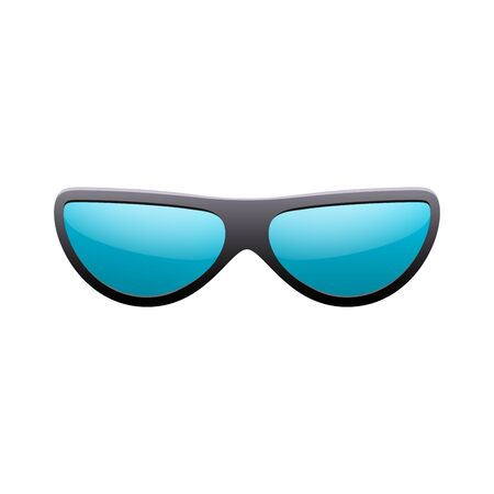 Sunglasses 3D. Summer sunglass shade isolated white background. Fun color sun glass Realistic design eye sight protection. Cool fashion eyeglasses. Beach summer sunlight accessory Vector illustration