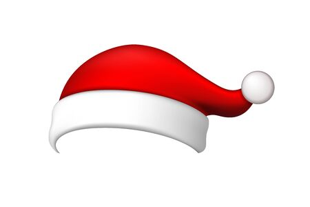 Santa Claus hat 3D. Realistic Santa Claus hat isolated on white background. Red funny cap silhouette. Merry Christmas clothes cute design. New year decoration wear costume Vector illustration Фото со стока - 129926293