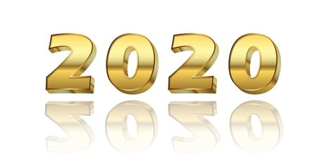 Happy New Year number 2020. Gold 3D number 2020 isolated white background. Bright golden design greeting card, Christmas banner, holiday celebration, decoration poster, calendar Vector illustration