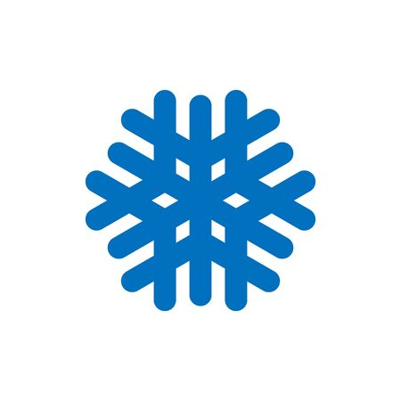 Snowflake sign. Blue Snowflake icon isolated on white background. Snow flake silhouette. Symbol of snow, holiday, cold weather, frost. Winter design element Vector illustration Reklamní fotografie - 129926308