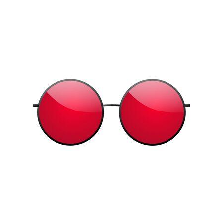 Round sunglasses 3D. Summer sunglass shade isolated white background. Fun color sun glass. Realistic design eye sight protection. Cool fashion eyeglasses. Beach sunlight accessory Vector illustration Ilustração
