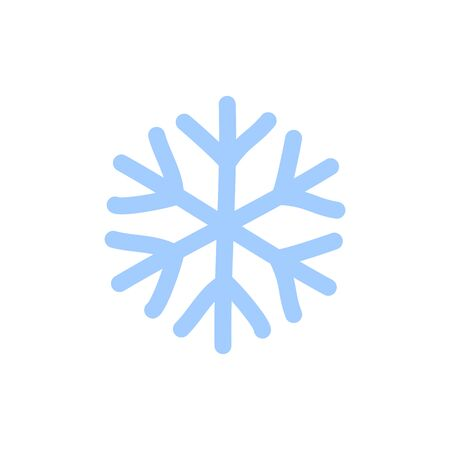 Snowflake icon. Blue silhouette snow flake sign, isolated on white background. Flat design. Symbol of winter, frozen, Christmas, New Year holiday. Graphic element decoration Vector illustration 스톡 콘텐츠 - 129926375