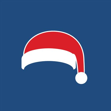 Santa Claus hat flat. Realistic Santa Claus hat isolated blue background. Red funny cap silhouette. Merry Christmas clothes cute simple cartoon design. New year decoration costume Vector illustration Фото со стока - 129926363