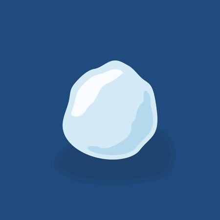 Ghiaccio a palla di neve. Palla di neve ghiacciolo innevato di design invernale. Modello di neve blu bianco. Priorità bassa blu isolata decorazione. Palla di neve del fumetto 3D. Natale, Capodanno congelato Illustrazione vettoriale