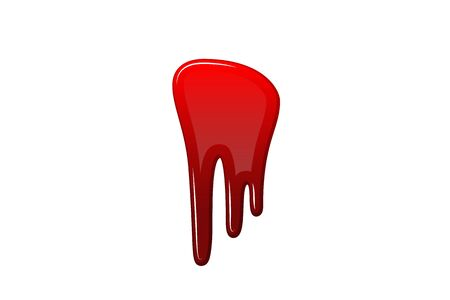 Blood drip 3D. Drop blood isloated white background. Happy Halloween decoration design. Red splatter stain splash spot, horror blot. Bleeding bloodstain scare texture. Liquid paint Vector illustraton Иллюстрация