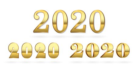 Happy New Year number 2020 set. Gold 3D numbers isolated white background. Bright golden design greeting card, Christmas banner, holiday celebration, decoration poster, calendar Vector illustration