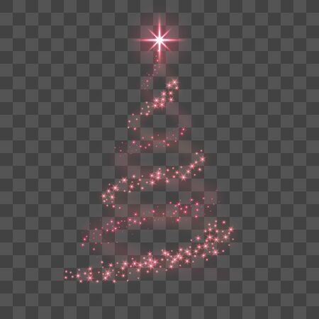Stylized red Christmas tree as symbol of Happy New Year holiday or Merry Christmas celebration. Bright Christmas tree star. Design for card. Black transparent background Vector illustration Stock Illustratie