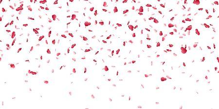 Heart falling confetti isolated white background. Red fall hearts. Valentine day decoration. Love element design, hearts-shape confetti invitation wedding card, romantic holiday Vector illustration