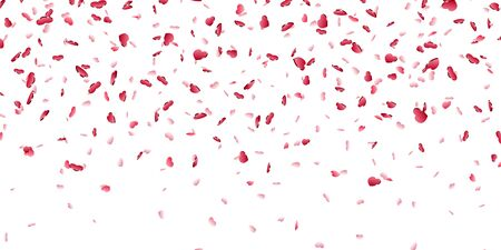Heart falling confetti isolated white background. Red fall hearts. Valentine day decoration. Love element design, hearts-shape confetti invitation wedding card, romantic holiday Vector illustration Illustration