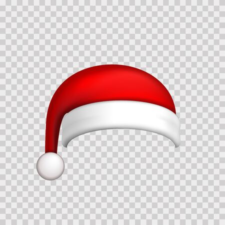 Santa Claus hat 3D. Realistic Santa Claus hat isolated white transparent background. Red funny cap silhouette. Merry Christmas clothes cute design. New year decoration wear costume Vector illustration