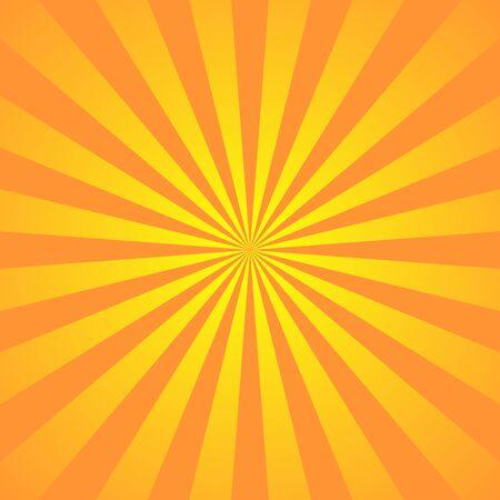 Supereroe di sfondo giallo arancio. Trama sfumata del fumetto super eroe. I raggi del sole scoppiano. Raggio di sole irradiato, effetto burst retrò. Boom del flash della luce del raggio di sole. Illustrazione di vettore del manifesto dello starburst della luce solare