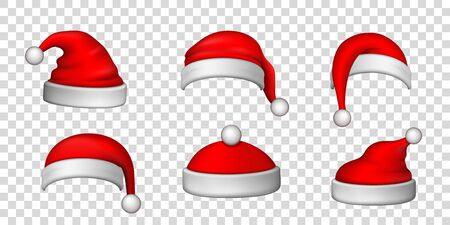 Santa Claus hat 3D set. Realistic Santa Claus hat isolated transparent background. Red funny cap silhouette. Merry Christmas clothes cute design. New year decoration wear costume Vector illustration Archivio Fotografico - 129815075