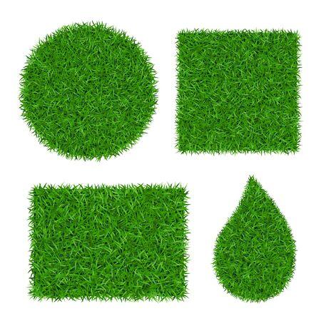 Ensemble 3D de fond d'herbe verte. Nature de la verdure de la pelouse. Cercle de texture de champ abstrait, carré, rectangle, goutte. Motif de prairie de paysage au sol. Conception herbeuse. Belle illustration vectorielle de prairie Vecteurs