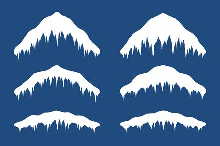 Snow cap ice set. Winter design snowy icicle roof. White snow template. Frame decoration isolated on blue background. Contour outline cap. New Year frozen texture Vector illustration Standard-Bild - 130779398