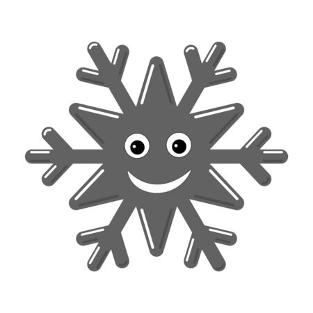 Snowflake smiley baby face. Cute winter gray snow flake, smile, isolated white background. Happy fun character, kid emoticon. Drawing cartoon doodle. Holiday child decoration Vector illustration