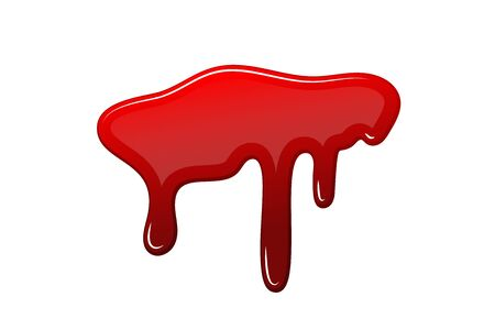 Blood drip 3D. Drop blood isloated white background. Happy Halloween decoration design. Red splatter stain splash spot, horror blot. Bleeding bloodstain scare texture. Liquid paint Vector illustraton Ilustração