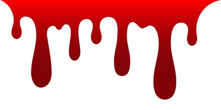 Blood drip. Drop blood isloated white background. Happy Halloween decoration design. Red splatter stain, splash spot, horror blot. Bleeding bloodstain scare texture. Liquid paint Vector illustraton