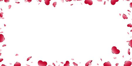 Heart frame isolated white background. Red hearts fall confetti border. Abstract heart-shape design love card, wedding romantic poster. Pattern greeting, Valentine day decoration Vector illustration