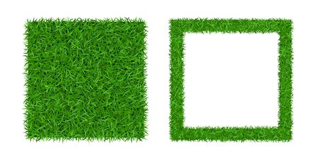 Green grass isolated background 3D set. Lawn greenery nature frame. Abstract soccer field texture square border. Ground landscape pattern Grassy design. Ecology environment meadow Vector illustration