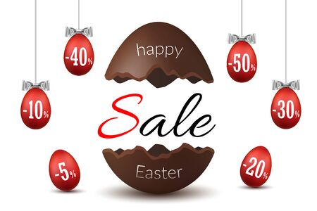 Easter egg text sale. Chocolate broken Happy Easter egg 3D template isolated white background. Design banner, greeting, holiday decoration, special offer. Label tag discount Vector illustration Banque d'images - 130779462