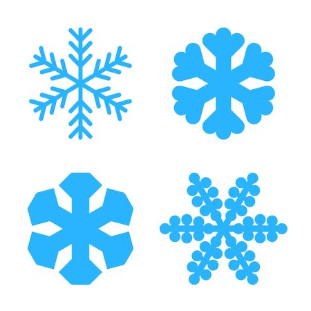 Snowflake icons set. Blue silhouette snow flake sign, isolated on white background. Flat design. Symbol of winter, frozen, New Year holiday. Graphic element decoration Vector illustration