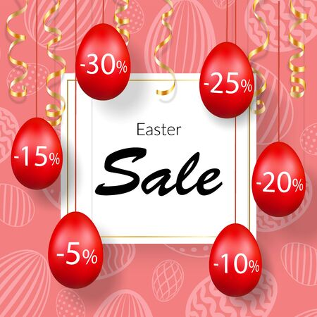 Easter sale banner. Hanging 3D Easter eggs, streamers gold ribbon, white frame, textured background. Template text for holiday Easter decoration, label discount, special offer Vector illustration