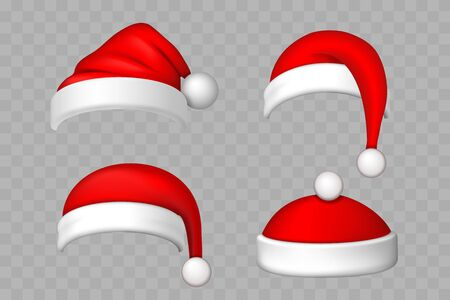 Santa Claus hat 3D set. Realistic Santa Claus hat isolated transparent background. Red funny cap silhouette. Merry Christmas clothes cute design. New year decoration wear costume Vector illustration Illusztráció