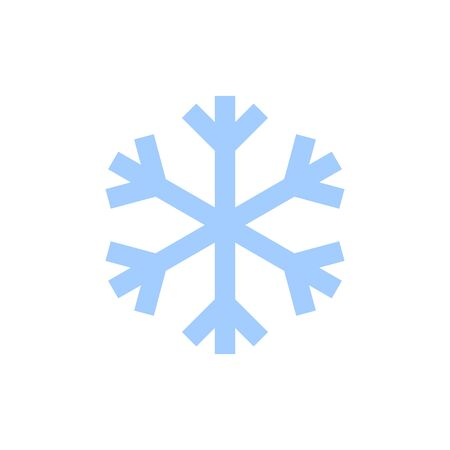 Snowflake icon. Blue silhouette snow flake sign, isolated on white background. Flat design. Symbol of winter, frozen, New Year holiday. Graphic element decoration Vector illustration Illusztráció