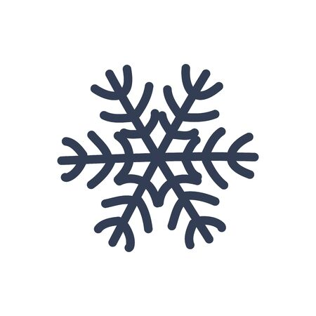 Snowflake icon. Black silhouette snow flake sign, isolated on white background. Flat design. Symbol of winter, frozen, New Year holiday. Graphic element decoration Vector illustration Illusztráció