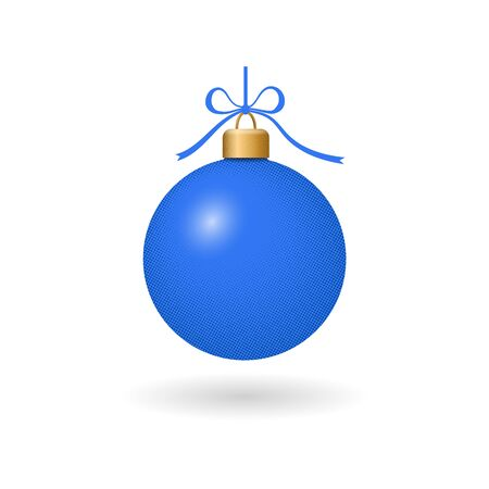 Christmas tree ball with ribbon bow. Blue bauble decoration, isolated on white background. Symbol of Happy New Year, Xmas holiday celebration, winter. Flat design for card Vector illustration