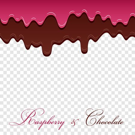 Dark chocolate, jam raspberry seamless pattern. Drip chocolate isolated white transparent background. Sweet melting cream. Dripping 3d design. Delicious dessert. Melted drop choco Vector illustration Illusztráció