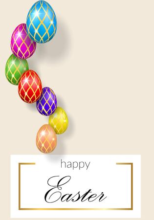 Happy Easter pastel background, decorative text, hanging eggs. Greeting Easter 3D card. Gold decoration holiday frame, calligraphic letter inscription. Holiday typography design Vector illustration